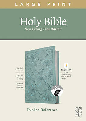 Picture of NLT Large Print Thinline Reference Bible, Filament Enabled Edition (Red Letter, Leatherlike, Floral/Teal, Indexed)