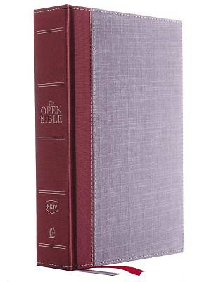 Picture of The NKJV, Open Bible, Cloth Over Board, Gray/Red, Red Letter Edition, Comfort Print