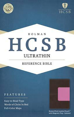 Picture of HCSB Ultrathin Reference Bible, Brown/Pink Leathertouch with Magnetic Flap Indexed