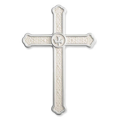 Confirmation Wall Cross - White Porcelain with Dove