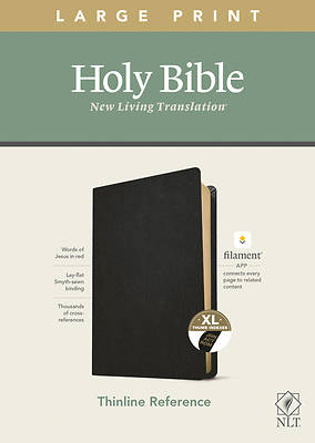Picture of NLT Large Print Thinline Reference Bible, Filament Enabled Edition (Red Letter, Genuine Leather, Black, Indexed)