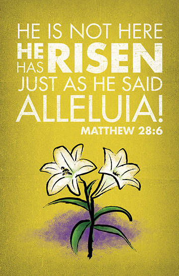 Matthew 28:6 Easter Banner with Lilies 3x5