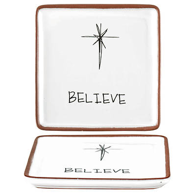 """Picture of Believe Tray Terra Cotta 4""""X4"""""""