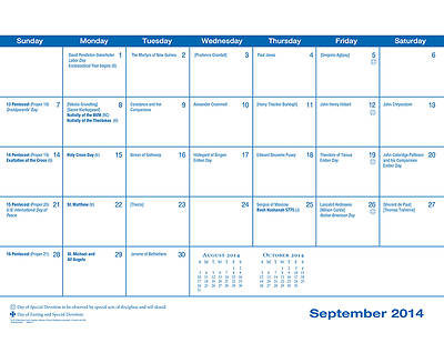 Parish Wall Calendar 2014-2015