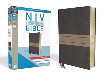 NIV, Thinline Bible, Large Print, Imitation Leather, Brown/Tan, Red Letter Edition