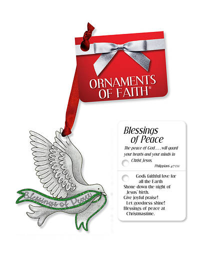 Blessings of Peace Ornament of Faith with Ribbon and Gift Tag