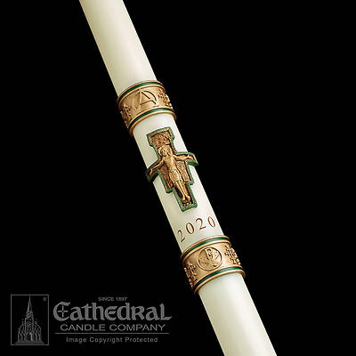 """Picture of Cathedral Cross of St. Francis Paschal Candle 1-1/2"""" x 34"""""""