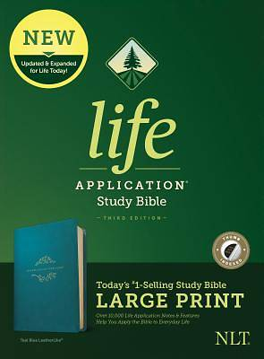 NLT Life Application Study Bible, Third Edition, Large Print (Leatherlike, Teal Blue, Indexed)