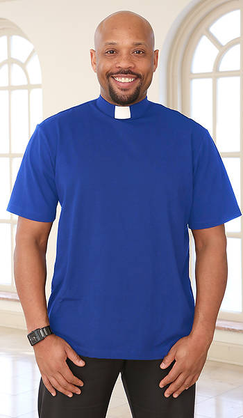 Picture of Abiding Spirit Men's Short Sleeve Knit Cobalt Blue Clergy Shirt Small