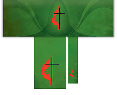 Picture of Cross and Flame 3-Piece Altar Set