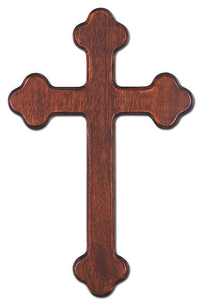 "Picture of 12"" Budded Mahogany Wall Cross"