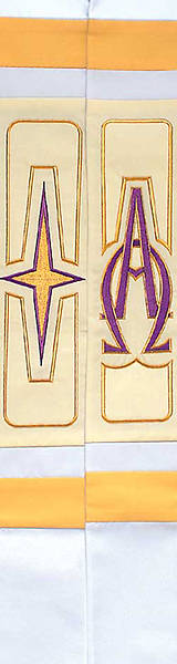 "White Revelation Star Cross Alpha Omega 110"" Stole"