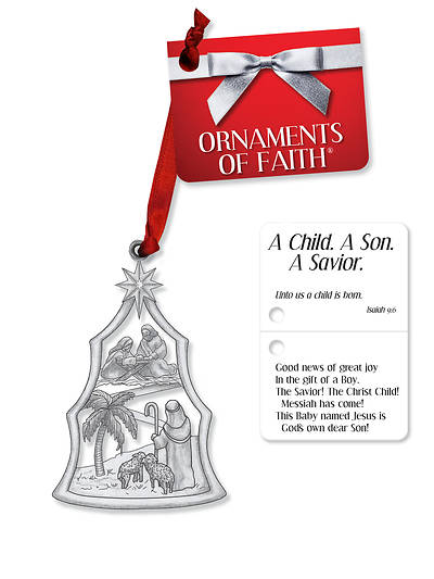 Picture of A Child. A Son. A Savior. Ornament of Faith with Ribbon and Gift Tag