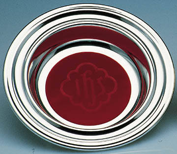 Silverplate Offering Plate with Red IHS Mat