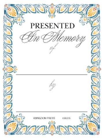 In Memory of Bookplates (Package of 15)