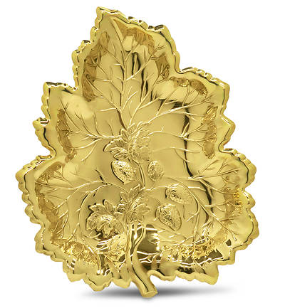 Strawberry Leaf Gift Tray - Brass