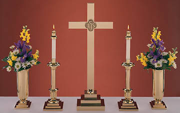 "Altarware Set, Traditional Style Brass, with 30"" Cross (Set of 5)"