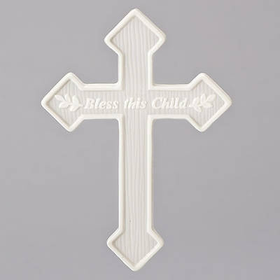 """Picture of God Bless This Child Porcelain Wall Cross 6.5"""""""