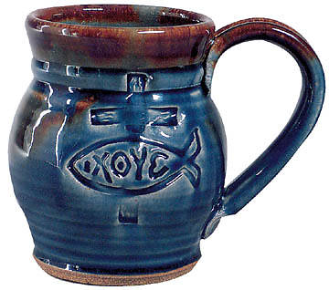 Picture of Handcrafted Ichthus Blue Stoneware Large Mug