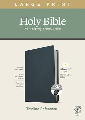 Picture of NLT Large Print Thinline Reference Bible, Filament Enabled Edition (Red Letter, Genuine Leather, Blue, Indexed)