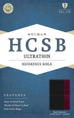 Picture of HCSB Ultrathin Reference Bible, Black/Burgundy Leathertouch Indexed