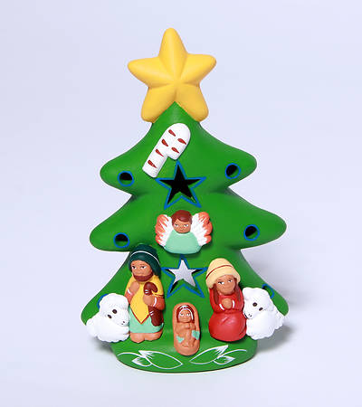 Picture of Ceramic Christmas Tree with Nativity, Green