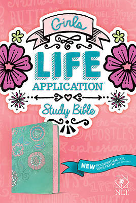 Picture of NLT Girls Life Application Study Bible (Leatherlike, Teal/Pink Flowers)