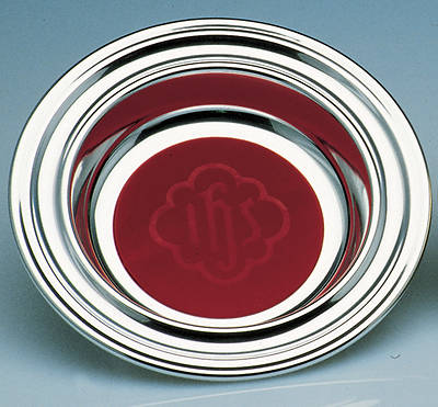 Chrome Offering Plate with Red IHS Mat