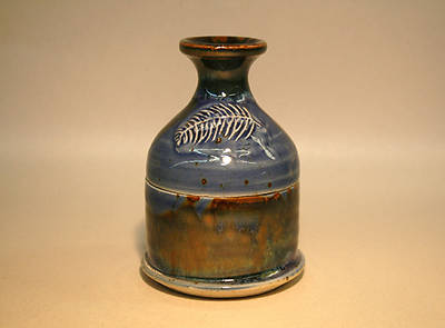 Blue Earthenware Ash Pyxis