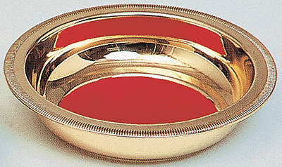 Polished Brass Collection Plate with Red Pad