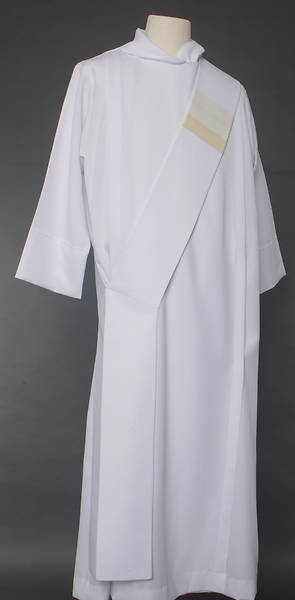 Picture of Triune Stripe Deacon Stole - White