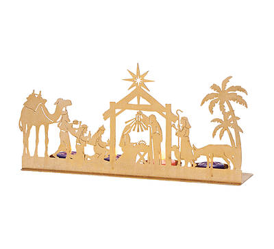 "Picture of Metal Nativity Silhouette with Candles 12W X 6""H"