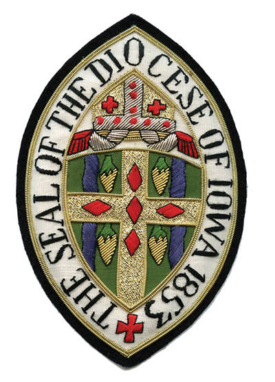 Hand Embroidered Diocesan Seal - Diocese of Iowa