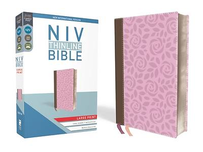 NIV, Thinline Bible, Large Print, Imitation Leather, Pink, Red Letter Edition