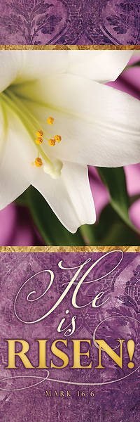 Picture of He is Risen! Easter Lily 2' x 6' Fabric Banner