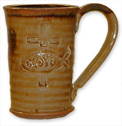 Picture of Ichthus Straight Side Ceramic Mug - Tan