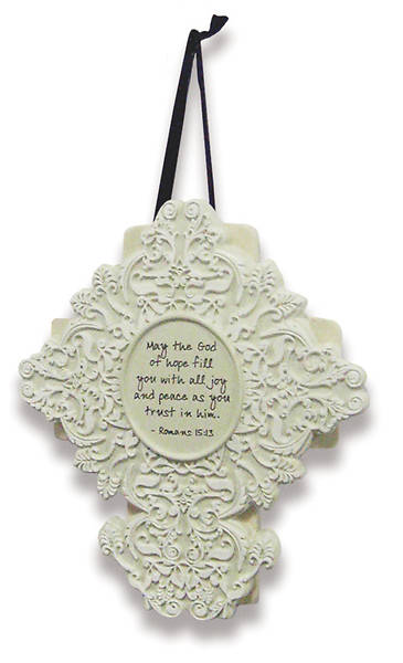 Picture of God of Hope Sculpted Resin Shabby Chic Cross