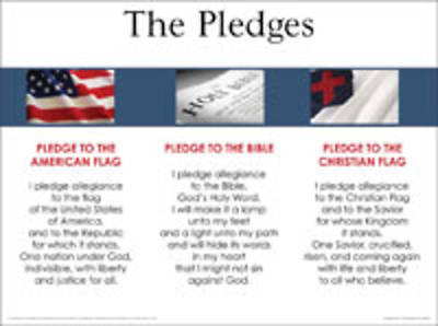 3-in-1: Pledges Of Allegiance, Christian Flag, Bible - Wall Chart - Laminated
