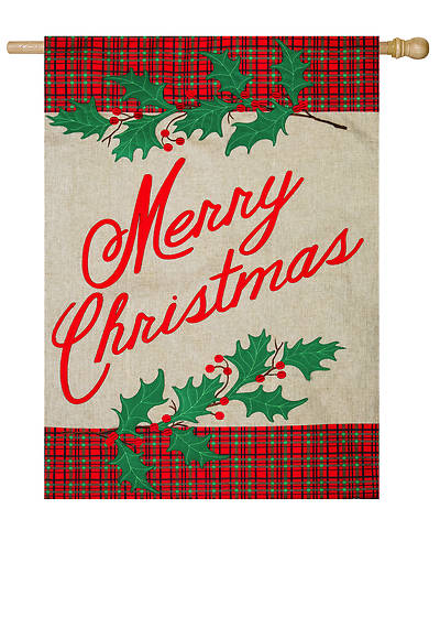 Merry Christmas Plaid House Burlap Flag