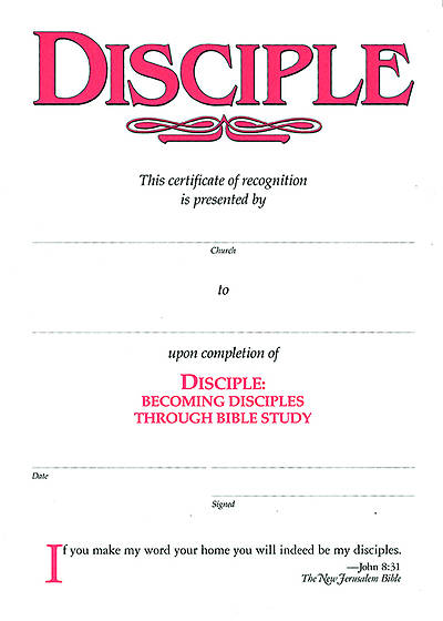 Picture of Disciple I Becoming Disciples Through Bible Study: Certificates (Pkg of 6)