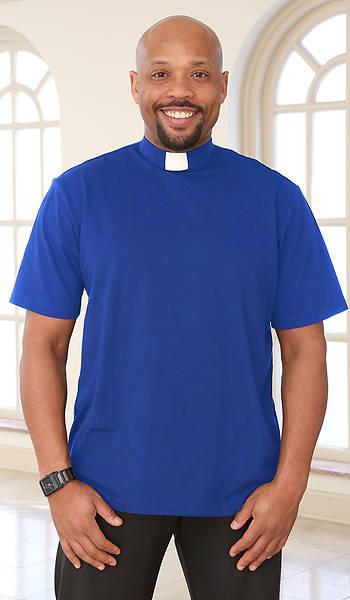 Picture of Abiding Spirit Men's Short Sleeve Knit Cobalt Blue Clergy Shirt Large