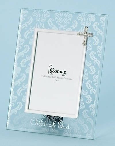 Child of God Glass Frame, Damask Pattern