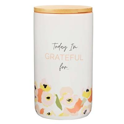 Picture of Gratitude Jar with Cards Today I'm Grateful for Warm Floral