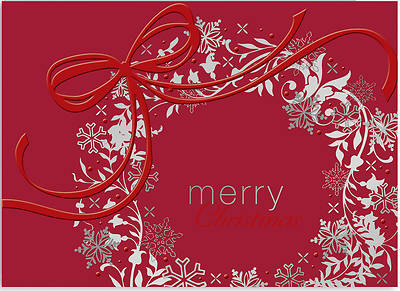 Silver & Red Wreath Boxed Cards