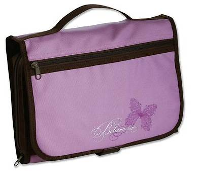 Believe Tri-Fold Lavender/Chocolate Large Bible Cover