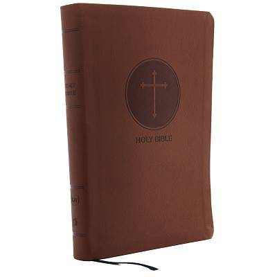 KJV, Reference Bible, Giant Print, Imitation Leather, Brown, Red Letter Edition