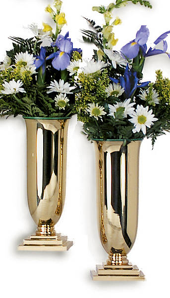 Square Base Altar Vases - Pair