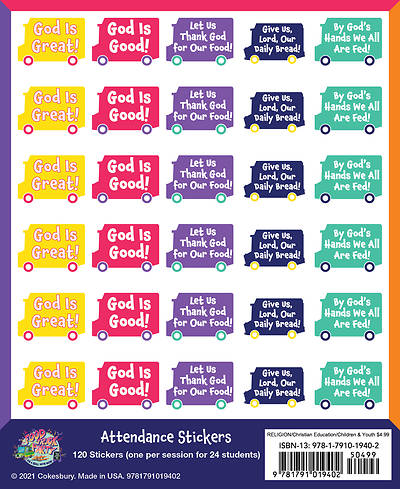 Picture of Vacation Bible School (VBS) Food Truck Party Attendance Stickers (Pkg of 24)