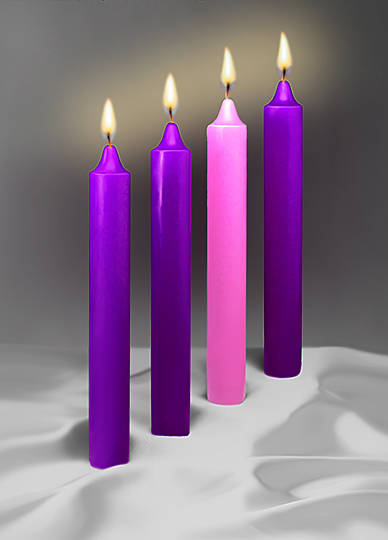 Advent Candles 3 Purple 1 Rose