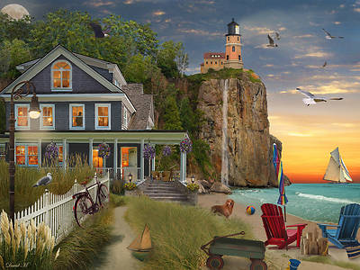 Picture of Beachside Lighthouse Jigsaw Puzzle